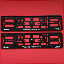 2 x Audi Vorsprung durch Technik Number Plate Surround Holder Frame For Any Audi