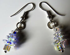 HANDMADE CLEAR SWAROVSKI CHRISTMAS TREE EARRINGS - WITH GIFT BAG - FREEFAST SHIP