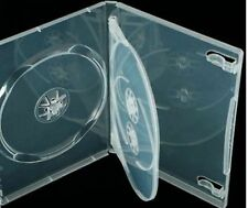 5 x super clear triple 3 way dvd / cd cas 100% de plastique vierge