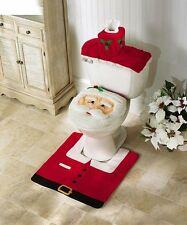4 Pcs Christmas Decorations Happy Santa Toilet Seat Cover and Rug Bathroom Set