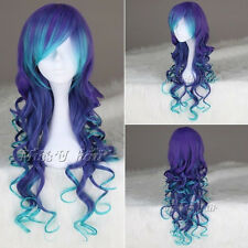 75cm Long Curly multi color synthetic Cosplay costume wigs anime lolita wig 005