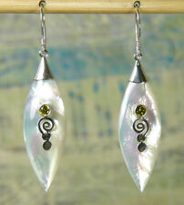 Genuine Bali Mother of Pearl,  Yellow Zircon,  925 Sterling Silver  Earrings