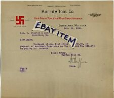 1914 LETTERHEAD Louisiana Missouri BUFFUM TOOL CO Ed McCuen SWASTIKA trade mark