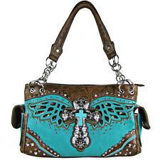 TURQUOISE WESTERN CROSS WINGS BROWN SEQUENCE SHOULDER HANDBAG CONCEALED CARRY