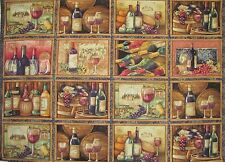 WINE BOTTLES CALIFORNIA 16 Blocks Per Panel* WINERY SOMMELIER on COTTON FABRIC