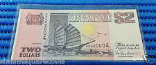 Singapore Ship Series $2 Note KR000004 Golden Number Dollar Banknote Currency