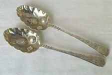 A LOVELY ANTIQUE PAIR OF SOLID STERLING SILVER GEORGIAN BERRY SPOONS LONDON 1804