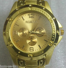 ROSRA BRAND CHRONOGRAPH STYLED MEN'S WRIST WATCH -GOLD G -ITEM # RO104