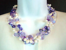 Beautiful Cultured White Lavendar Purple Pearl Crystal  Layer Necklace Honora?