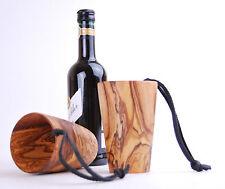 Holzbecher Trinkbecher Kaffee Holz Becher Mittelalter aus Olivenholz & Lederband