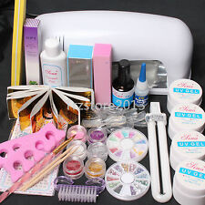 New Pro 9W UV Dryer Lamp Block Sanding False Nail Art Tips Gel Tools DIY Kit Set