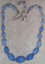 VINTAGE JAPANESE GLASS SPECKLED BEADS NECKLACE LOVELY-BLUE