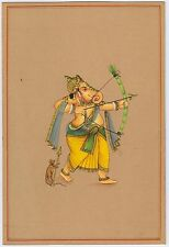 Indian Paper Painting Lord Ganesha Miniature Hand Painted Original Wall Decor