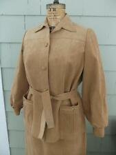 Vtg 60s 70s Pierre Cardin tan mod ultrasuede skirt top suit set - large b-41 w34