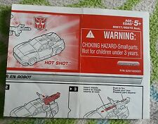 Transformers ENERGON HOT SHOT INSTRUCTION BOOKLET ONLY