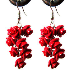 2016 Fashion Summer Handmade Carved Red Roses Real Coral Earring Jewelry Gifts