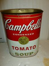 "Campbell's Tomato Soup Metal trash Can 14"" - Cheinco Made in USA (Andy Warhol)"