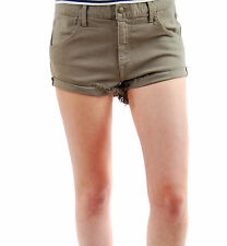 Wildfox Women's New Michelle Shorts Catbird Denim Zip Fly Khaki BCF62