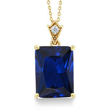 "Beautiful Emerald Cut Simulated Sapphire and Zirconia Pendant with 18"" Chain"