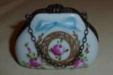 Signed Limoges France PEINT MAIN Porcelain Purse Trinket Box