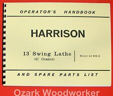 "HARRISON L6 13"" Metal Lathe Operator's & Parts Manual 0797"