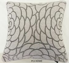 "2 X Funky Retro Gris Plata Grueso Pesado Con Chenille 18 ""Cushion Covers * Rv *"