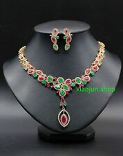 Wedding Jewelry Necklace&Earring Set of Natural Ruby&Emerald Bridal Accessories