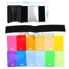 12pcs Strobist Flash Color card diffuser Lighting Gel Pop Up Filter for camera