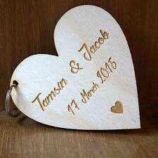 Personalised Wooden valentines Day heart Keyring Gift for her for him