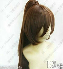 hot  Working Taneshima Popura long Brown 100cm clip ponytail Cosplay wig