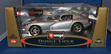 Bburago Gold 3375 1997 Dodge Viper GTS 1:18! Silver w/Blue Stripes! Diecast!