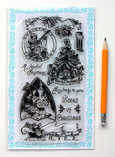 """Clear Stamps Lot (4""""x7"""") Christmas Songs Santa FLONZ Vintage 271 Rubber Acrylic"""