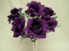 "2 Bushes PURPLE Open Roses 7 Artificial Silk Flowers 15"" Bouquet 039PU"