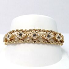 """RETRO VINTAGE SOLID 14K GOLD SAPPHIRE SEED PEARL DOUBLE ROPE BRACELET Sz 7.5"""""""