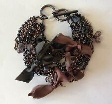 COLDWATER CREEK Mixed Metals Brown & Gray Rhinestone Multi-chain Bracelet