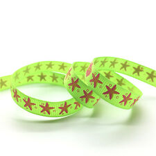 "New 5 Yards 3/8""(10mm) Wide Printed Grosgrain Ribbon Hair Bow DIY Sewing #GD243"