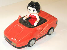 BETTY BOOP Red Sports Car Covered Box Testarossa Ceramic Vintage Vandor 1990 NOS