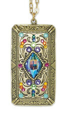NEW ANNE KOPLIK ART DECO COLORFUL SHIELD PENDANT NECKLACE  SWAROVSKI CRYSTALS