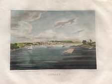 VEDUTA ALBANY MARINA AMERICA incisione 1828 SMITH STATI UNITI NEW YORK