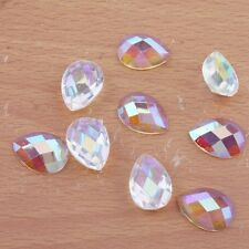 350x Hotest Plated Bottom Water Droplets Form Faceted Diamond Flatback Jewelry C