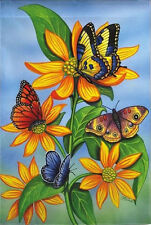 "Descending Butterfly House Flag Spring Floral Decorative Large Banner 29"" x 43"""