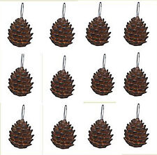 BATHROOM ACCESSORIES - PINECONE SHOWER CURTAIN HOOKS - SET/12 - PINE CONE