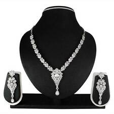 Indian Bollywood Fashion Silver Plated Diamond Necklace Earrings Jewelry set