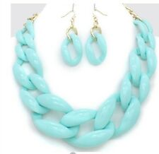 Acrylic Mint Light Blue Big Curb Link Chain Chunky Necklace Set Earring