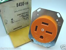 Bryant 8460-IG Isolated Ground 3-Pole 4-Wire 250V 60A 3-Phase Orange Outlet b92