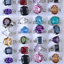 Bulk Lots 10Pcs Fashion Mixed Quality Crystal Rhinestone/Imtate CZ Silver Rings