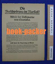 Original SPD-Flugblatt Spartakus-Aufstand 1919: DIE VERSCHWÖRUNG IM MARSTALL!