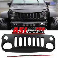 FOR Jeep Wrangler 07-15 Angry Bird Style Black Front Hood Bumper Grill-