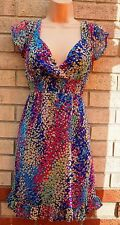 ETHEL AUSTIN BLUE MULTI COLORED ABSTRACT FLORAL PRINT CHIFFON A LINE DRESS 12 M