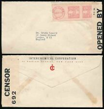 USA WW2 1940 CENSORED METER FRANKING...INTERCHEMICAL CORP ENVELOPE